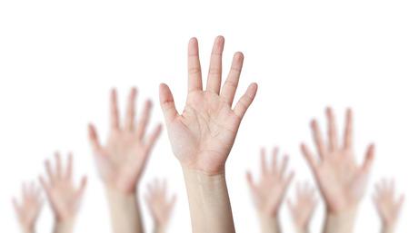 Foto de One hand leader with blur hand behind business concept - Imagen libre de derechos