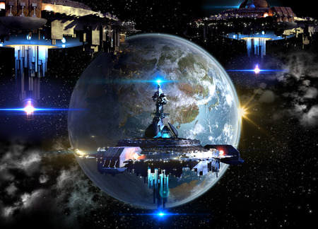 Alien spaceship fleet nearing Earth for futuristic fantasy or interstellar deep space trav mural