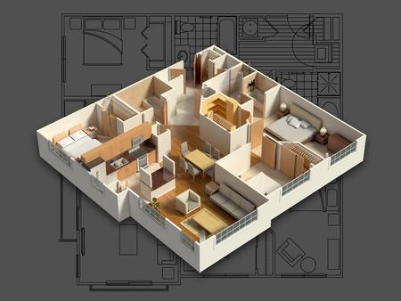 Photo pour 3D Furnished House Interior - image libre de droit