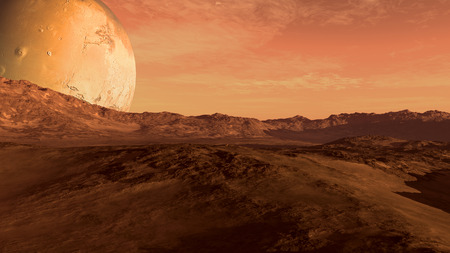 Foto de Red planet with arid landscape, rocky hills and mountains, and a giant Mars-like moon at the horizon, for space exploration and science fiction backgrounds. - Imagen libre de derechos