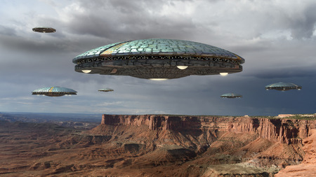 Photo for Alien spaceship fleet above the Grand Canyon, in Canyonlands, Utah, USA, for futuristic, fantasy and interstellar travel or war game backgrounds. - Royalty Free Image