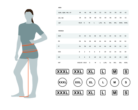 Illustrazione per Measurements for clothing. Vector illustration of the dimensions of the female waist and hips. Size chart for women. Model template with international sizes can be used for female linen, clothes - Immagini Royalty Free