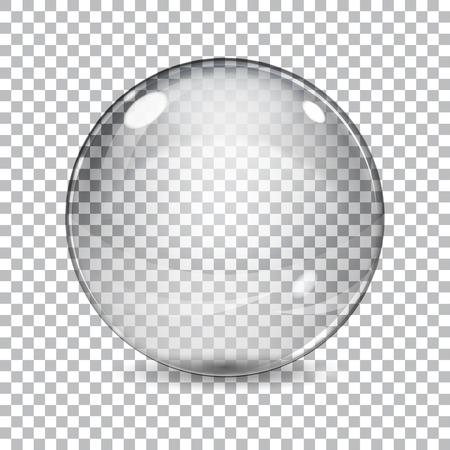 Ilustración de Transparent  glass sphere with shadow on a plaid background - Imagen libre de derechos