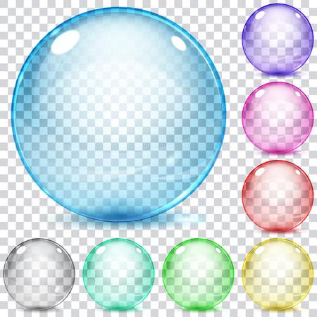 Ilustración de Set of multicolored transparent glass spheres on a plaid background - Imagen libre de derechos