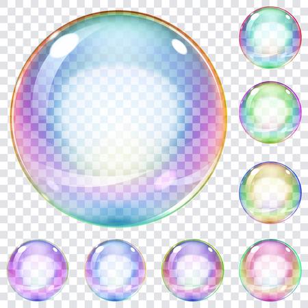 Illustration pour Set of multicolored transparent soap bubbles on a plaid background - image libre de droit