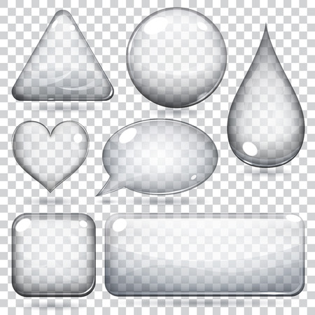 Illustration pour Transparent glass shapes or buttons various forms - image libre de droit