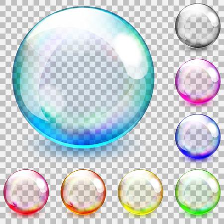 Illustration pour Set of multicolored transparent glass spheres on a plaid background - image libre de droit