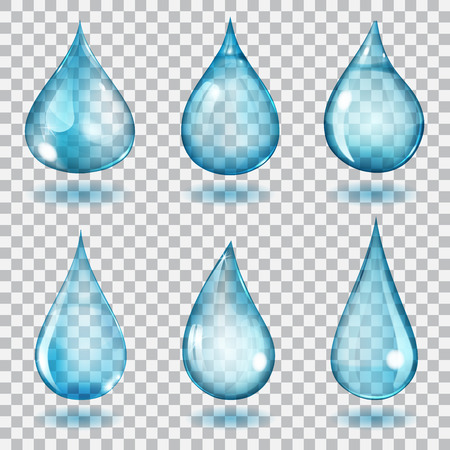 Illustration pour Set of six transparent drops of different forms in blue colors - image libre de droit