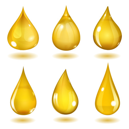 Ilustración de Set of six opaque drops of different forms in saturated yellow colors - Imagen libre de derechos