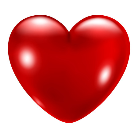 Ilustración de Big beautiful red heart with glares on white background - Imagen libre de derechos