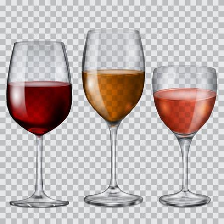 Ilustración de Three transparent glass goblets with wine of various colors - Imagen libre de derechos