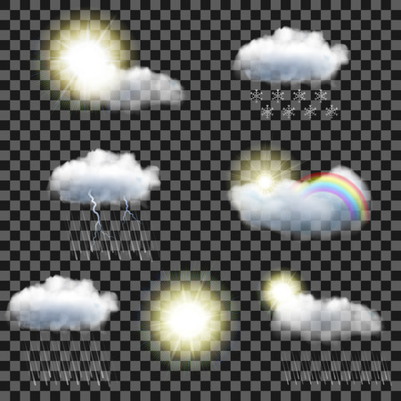 Illustration pour Set of seven realistic transparent weather icons - image libre de droit