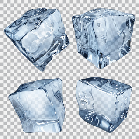 Illustration for Set of four transparent ice cubes in blue colors - Royalty Free Image