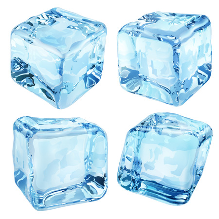 Illustration for Set of four opaque ice cubes in blue colors - Royalty Free Image