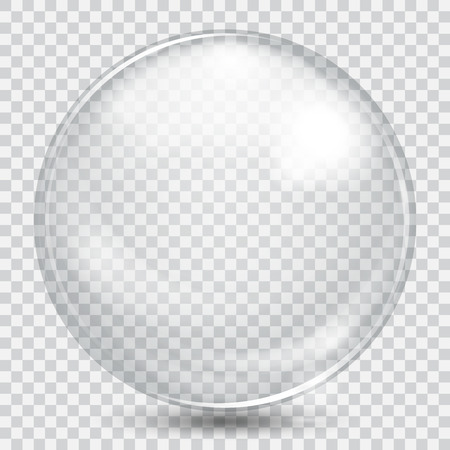 Illustrazione per Big white transparent glass sphere with glares and shadow - Immagini Royalty Free