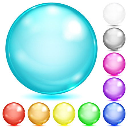 Illustration pour Set of opaque spheres of various colors with glares and shadows - image libre de droit