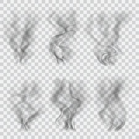Ilustración de Set of translucent black smoke on transparent background. Transparency only in vector format - Imagen libre de derechos