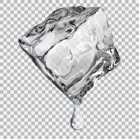 Illustration for Transparent ice cube with water drops in gray colors - Royalty Free Image