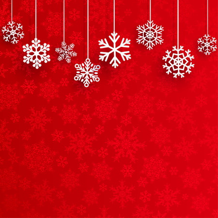 Illustration pour Christmas background with several hanging snowflakes on red background of small snowflakes - image libre de droit