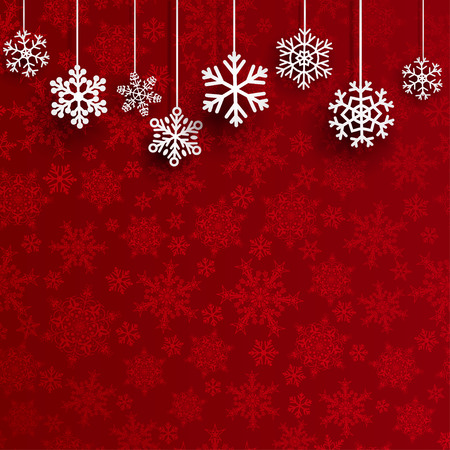 Illustration for Christmas background with several hanging snowflakes on red background of small snowflakes - Royalty Free Image
