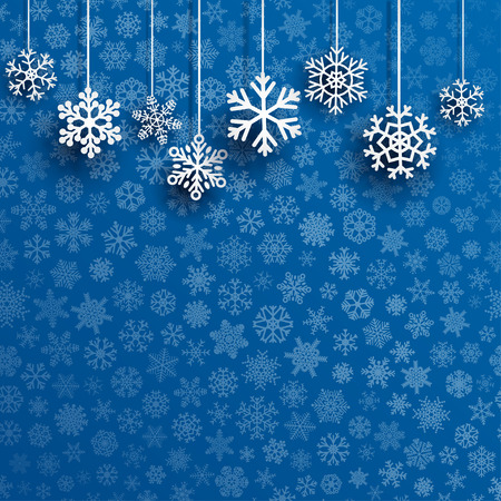 Illustration pour Christmas background with several hanging snowflakes on blue background of small snowflakes - image libre de droit
