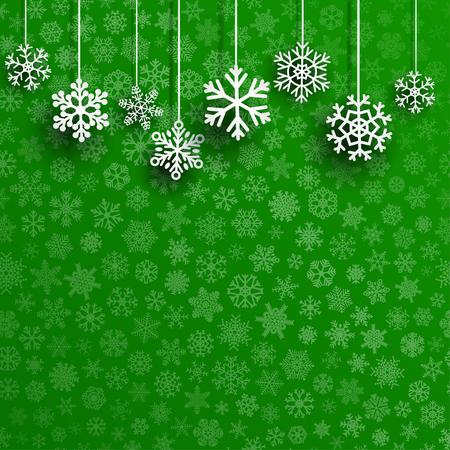 Ilustración de Christmas background with several hanging snowflakes on green background of small snowflakes - Imagen libre de derechos