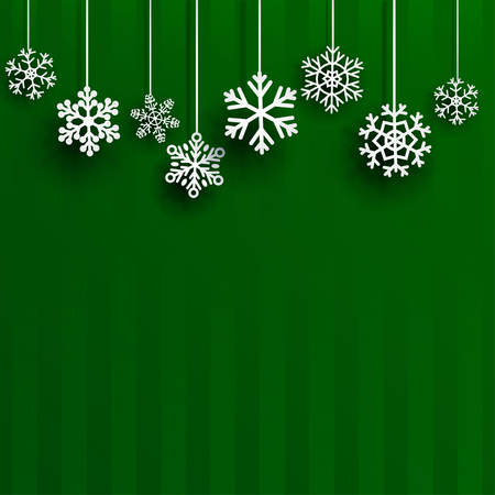 Illustration pour Christmas background with several hanging snowflakes on green striped background - image libre de droit