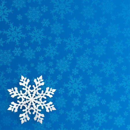 Illustration pour Christmas background with snowflake cut out of paper on blue background of small snowflakes - image libre de droit