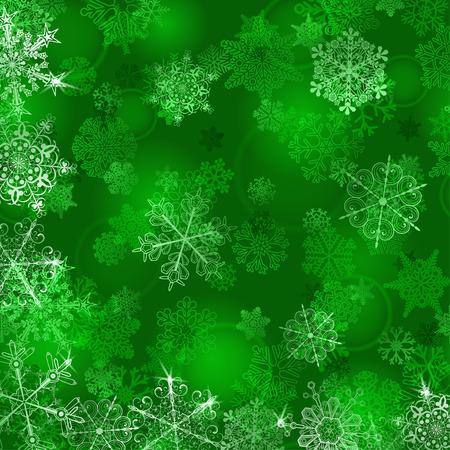 Ilustración de Christmas background with snowflakes in green colors - Imagen libre de derechos