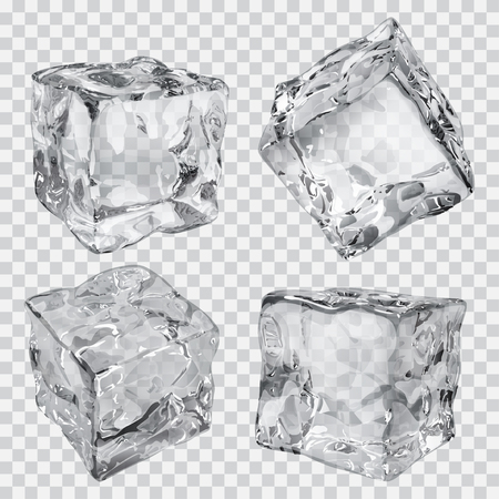 Illustration for Set of four transparent ice cubes in gray colors - Royalty Free Image
