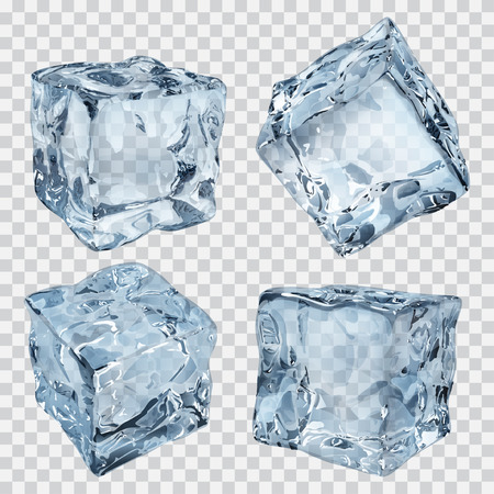 Illustration for Set of four transparent ice cubes in light blue colors - Royalty Free Image