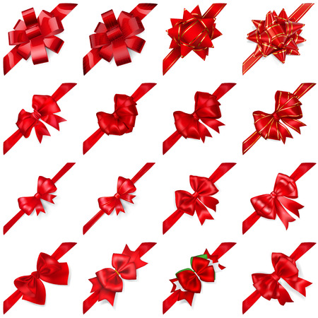 Illustration pour Set of realistic beautiful red bows with ribbons arranged diagonally with shadows - image libre de droit