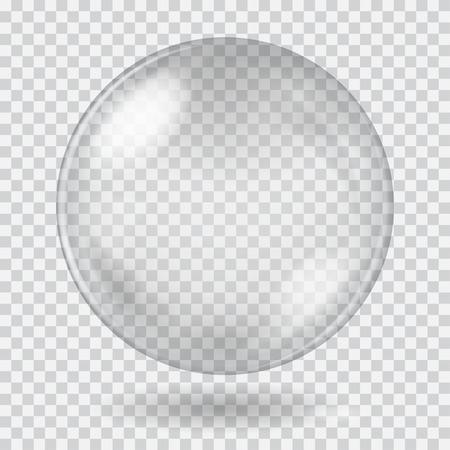 Ilustración de Big white transparent glass sphere with glares and shadow. Transparency only in vector file - Imagen libre de derechos