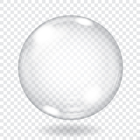 Ilustración de Big transparent glass sphere with glares and shadow. Transparency only in vector file - Imagen libre de derechos