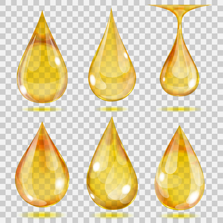 Ilustración de Set of transparent drops in yellow colors. Transparency only in vector format. Can be used with any background - Imagen libre de derechos