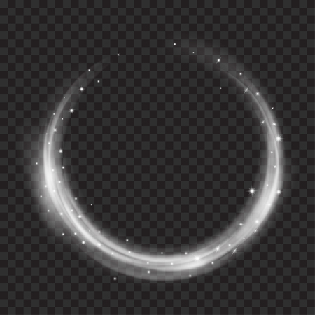 Illustration pour Glowing fire rings with glitter in gray colors on transparent background. Light effects. For used on dark backgrounds. Transparency only in vector format - image libre de droit