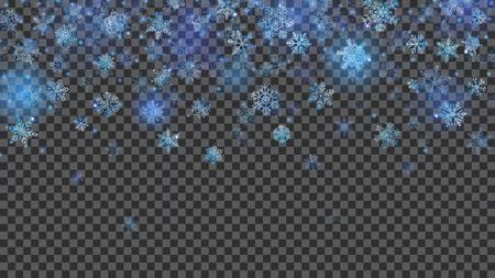 Illustration pour Christmas background of translucent falling snowflakes in light blue colors on transparent background. Transparency only in vector file - image libre de droit