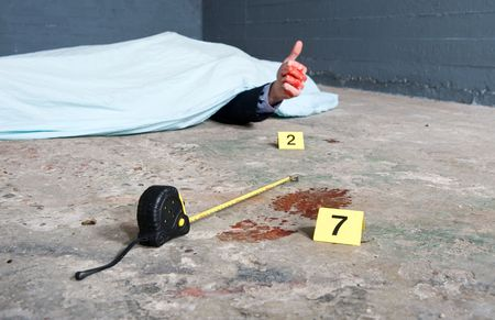 Crime scene investigation with a touch of humor, showing a footprint and a body giving a thumbs-up.