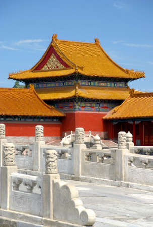 chinese roof architecture in the forbidden city (gu gong) of beijing