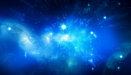 Beautiful blue galaxy background mural