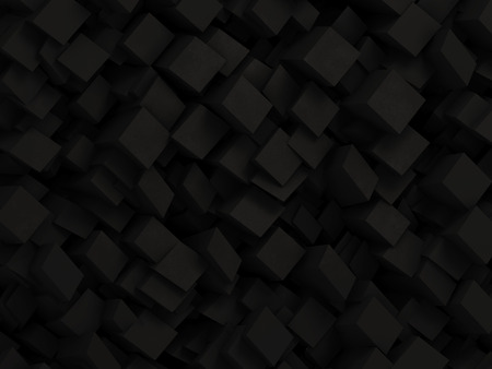 Photo pour Abstract black 3D geometric background made by dark polygon boxes - image libre de droit
