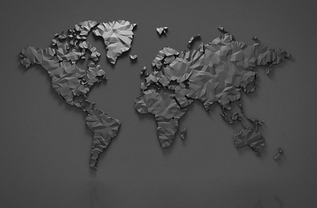 Photo pour Origami 3D world map isolated with clipping path - image libre de droit