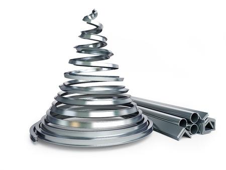 Foto de Christmas tree metal on a white background - Imagen libre de derechos