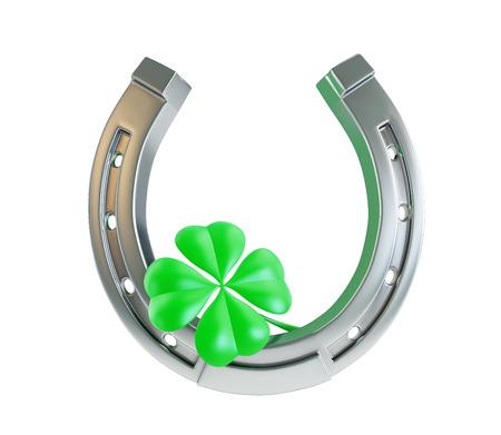 Foto de St. Patrick's day silver horseshoe - Imagen libre de derechos