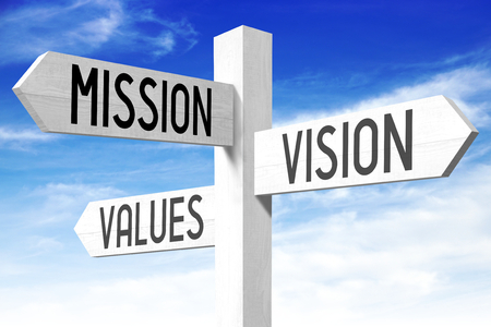 Photo pour Mission, vision, values - signpost - image libre de droit