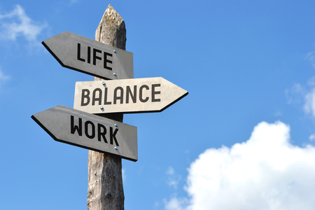 Photo pour Life, balance, work signpost - image libre de droit