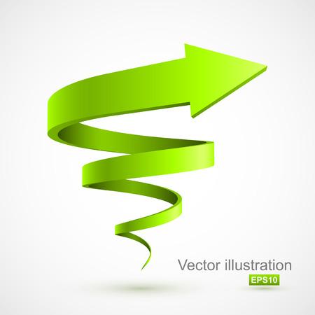 Ilustración de Green spiral arrow 3D - Imagen libre de derechos