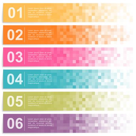 Illustration pour Set of colorful pixel banners with options - image libre de droit