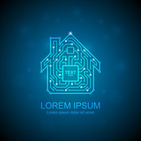 Ilustración de Circuit board house icon. Home automation concept - Imagen libre de derechos