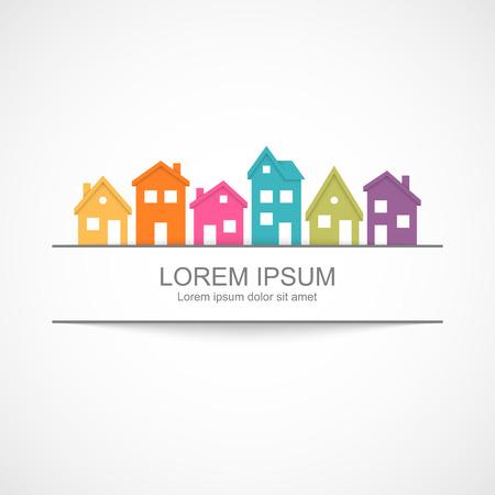 Ilustración de Suburban homes icon with banner - Imagen libre de derechos